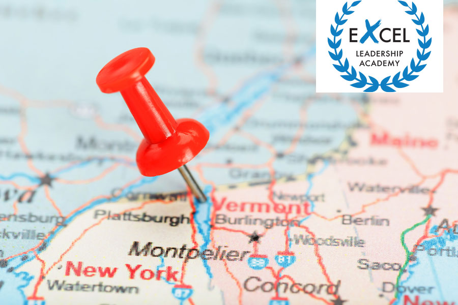 Northeast US Map with ExcEL Academy logo